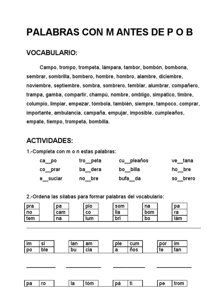 Palabras con m antes de p o b for Oraciones con la palabra beta