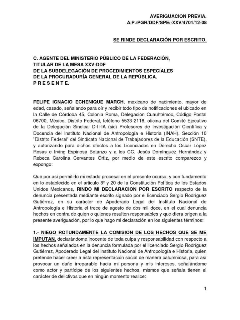 Declaraci N Ministerial De Felipe Echenique 19 Sep 2012