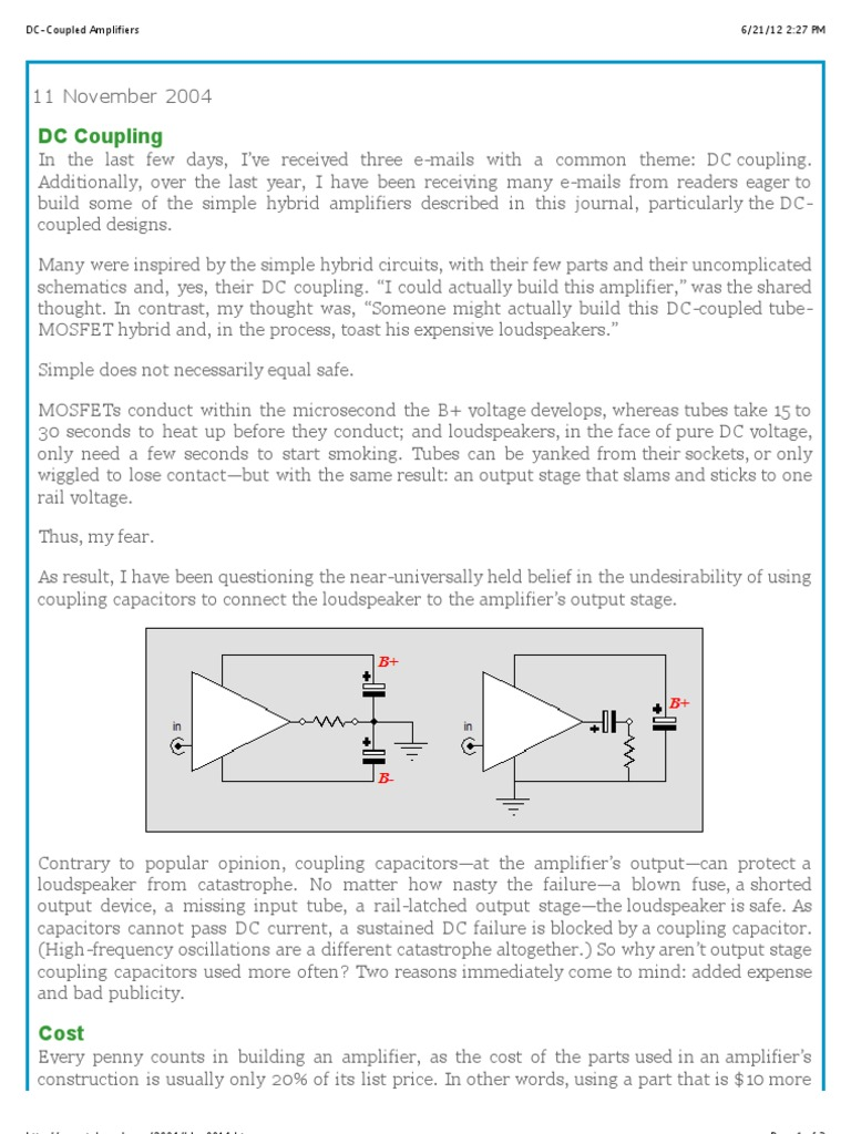 DC Coupled Amplifiers | Capacitor | Amplifier