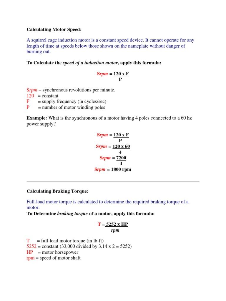 Motor Formulas | Nature