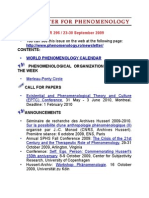 NEWSLETTER FOR PHENOMENOLOGY - ISSUE NUMBER 296/23-30 SEPTEMBER 2009