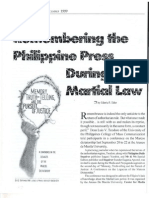 Remembering the Philippine Press During Matial Law (PJR December 1999)