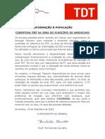 Comunicado TDT 19-09-2012