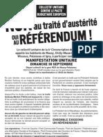 Appel à manifester pour le non au traité Sarkozy Merkel dimanche 30 septembre