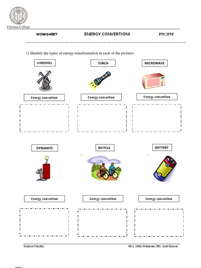 Energy Transformations Worksheet Letravideoclip – Energy Conversions Worksheet