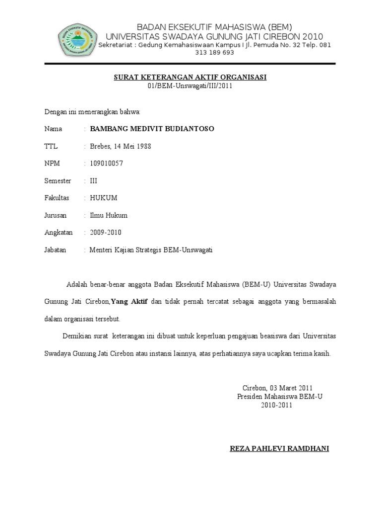 Contoh Surat Keterangan Organisasi Kumpulan Ilmu Dan