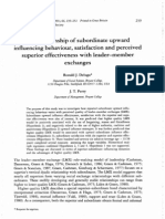 The Relationship of Subordinate Upward Influencing Behaviour, Satisfaction and Perceived Superior Effectiveness With Leader-member Exchanges