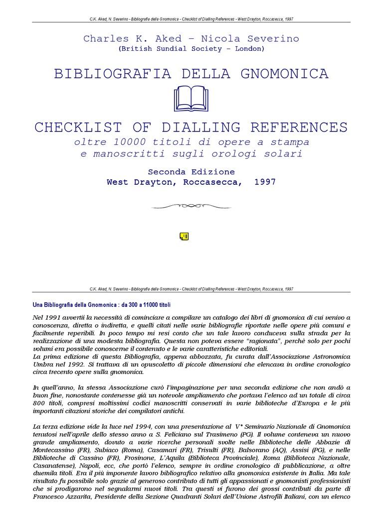 international bibliography of gnomonica alexandria libraries - Circulam Vite