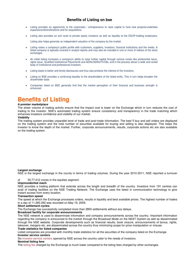 Benefits of Listing on Bse | Public Company | Initial Public