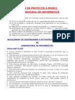 Regulament Norme Laborator Info