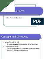 Obj. 5 Vertex Form (Presentation)