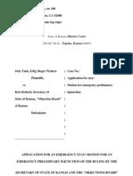 2012-09-20 - KS - Walters v Kobach - Motion for Stay/Motion for Preliminary Injunction