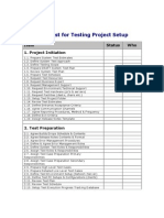 Testing Project Setup Checklist