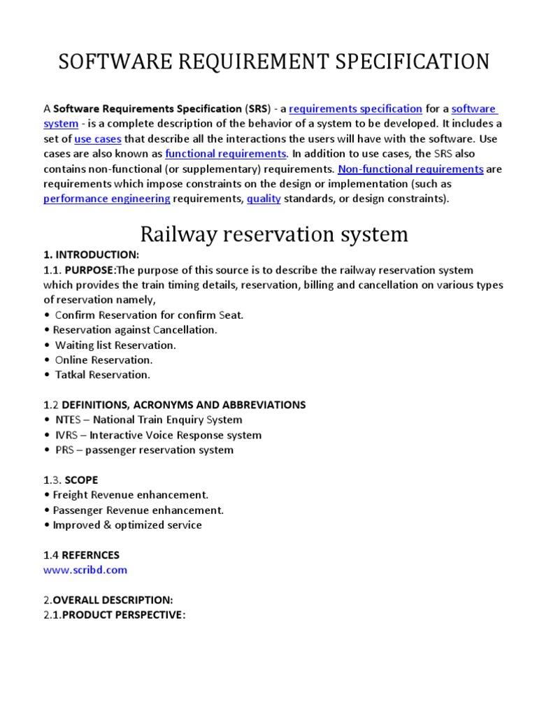 Srs railway reservation system use case information technology srs railway reservation system use case information technology management ccuart Images