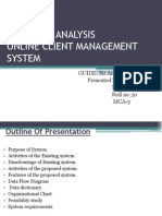 Analysis for client management system
