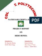 Hero Honda EngineProject Report