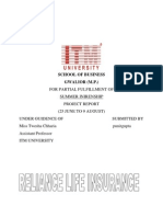 Realiance life insurance summer internship project