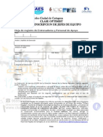 HOJA DE INSCRIPCIÓN III TROFEO CIUDAD DE CARTAGENA