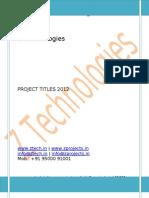 Embedded Project Titles 2012 @ Z Technologies www.ztech.in