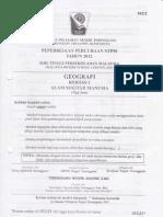 Soalan Percubaan Geografi K2 STPM Terengganu 2012