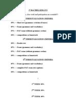 2º BACHILLERATO evaluation criteria