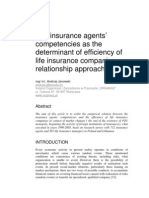 The insurance agents'competencies as the determinant of efficiency of life insurance companies –relationship approach