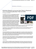 Publishers Newswire Announces Latest 'Books to Bookmark' List of 13 Interesting New Book Titles From 2012