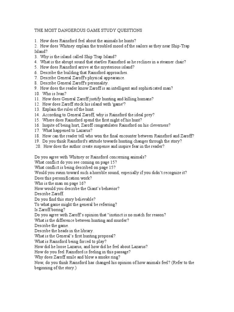 worksheet The Most Dangerous Game Worksheet the most dangerous game study questions