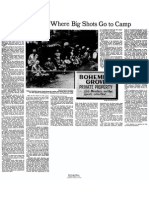 The Bohemian Grove Club and the Cremation of Care Ritual 1977