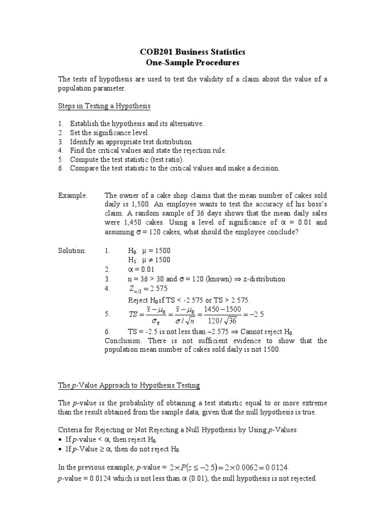 One Sample Procedures P Value Statistical Hypothesis Testing