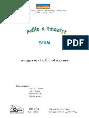 Tamazight Manuel Scolaire Algerie 4 Annee Primaire