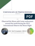 Certificate de participación en el día internacional de observación lunar