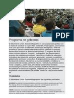 Programa de Gobierno del Movimiento Unión Soberanista 2012