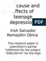 The Cause and Effects of Teenage Depression(on PROGRESS)