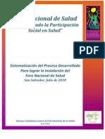 Proceso Del Foro Nacional de Salud 2010