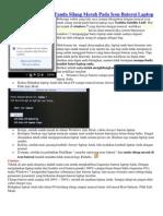 Cara Menghilangkan Tanda Silang Merah Pada Icon Baterai Laptop