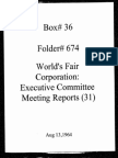 World's Fair Corporation - Executive Committee Meeting Reports - 08-13-1964