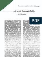Rhetoric and Respectability