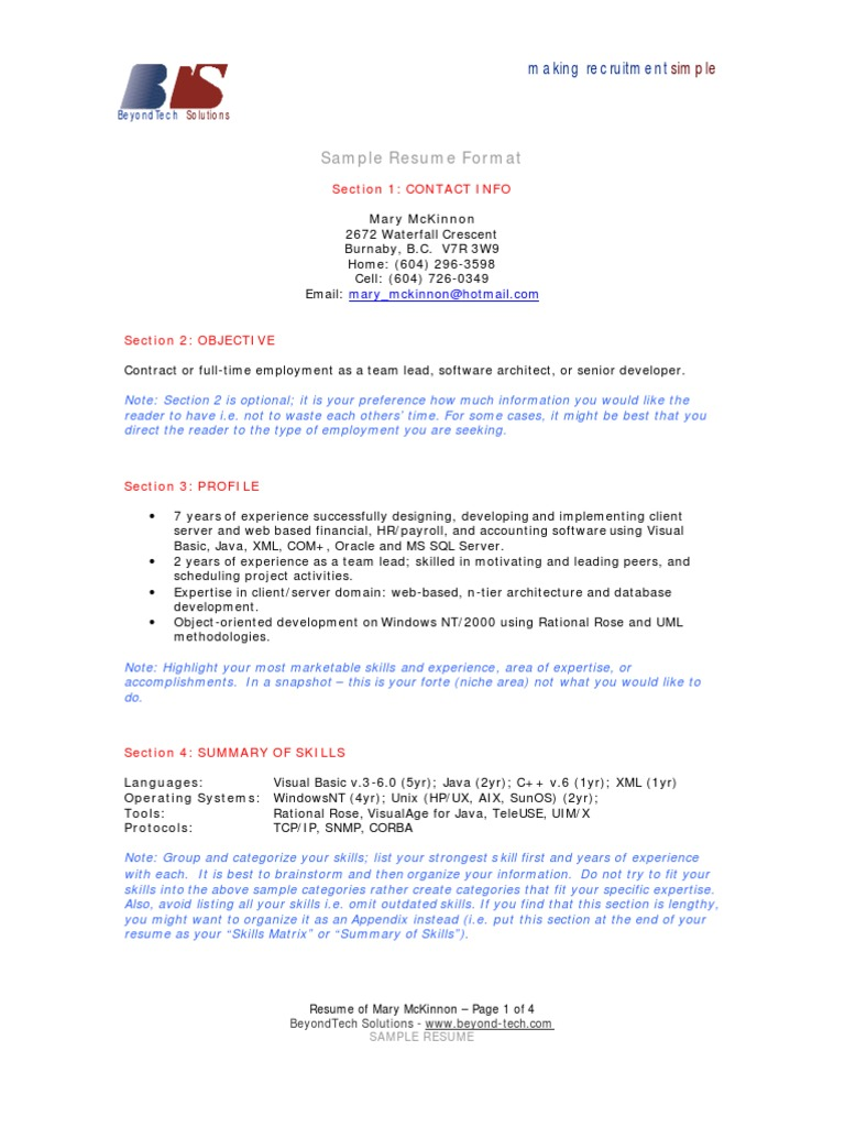 sample resume format  section 1  contact info