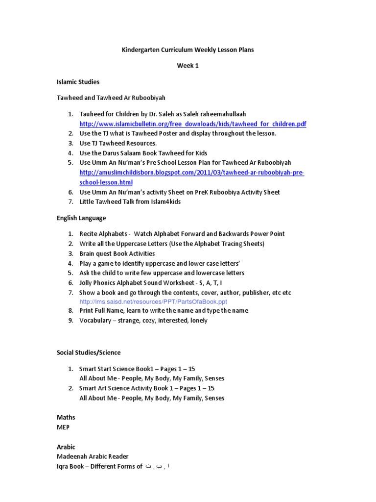 Kindergarten Curriculum Weekly Lesson Plans 2011