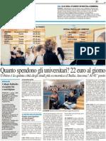 Quanto spendono gli studenti al giorno? 22 euro