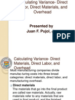 Calculating Variance DirectLabor Materials Overhead
