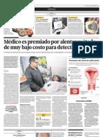 Médico es premiado por alentar método de muy bajo costo para detectar el cáncer
