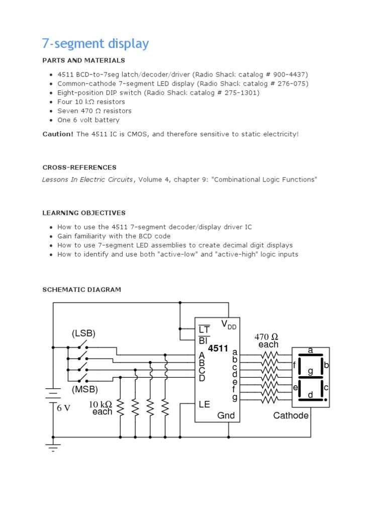 7 Segment Logic Diagram Schematic Diagrams Display Digital Integrated Circuits Binary Coded Circuit