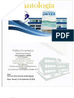Antologia de Politica Economica Internacional CIA0740 Cuatri. VII Vesp. Sep-Dic- 2012