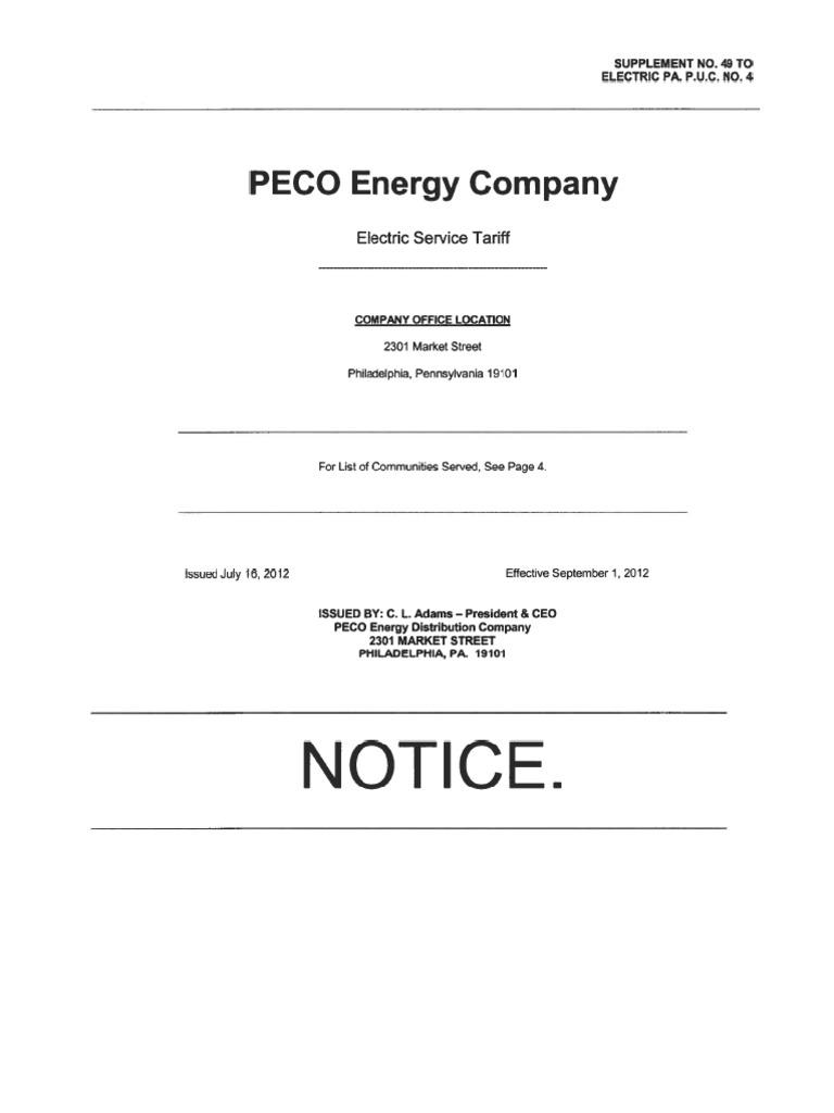 peco current electric tariff electric power distribution rh scribd com Peco Residential Peco Electric Bill