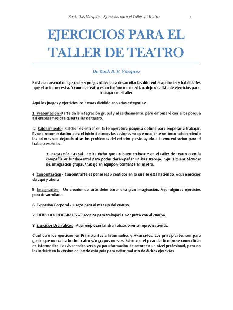 Ejercicios de actuacion para el taller de teatro for Expresiones cortas