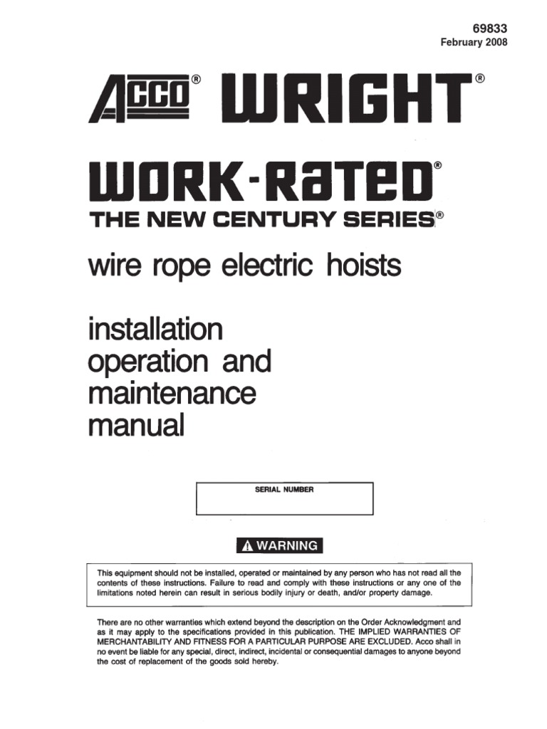Work Rated Wire Rope Manual   Crane (Machine)   Safety