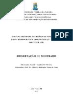 SUSTENTABILIDADE DAS PRÁTICAS AGRÍCOLAS NA BACIA HIDROGRÁFICA DO RIO GURUJÍ MUNICÍPIO DO CONDE PB - LEANDRO GONDIM DE OLIVEIRA
