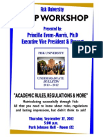 AESP Workshop Academic Rules, Regulations and More Sep 27, 2012 Flyer